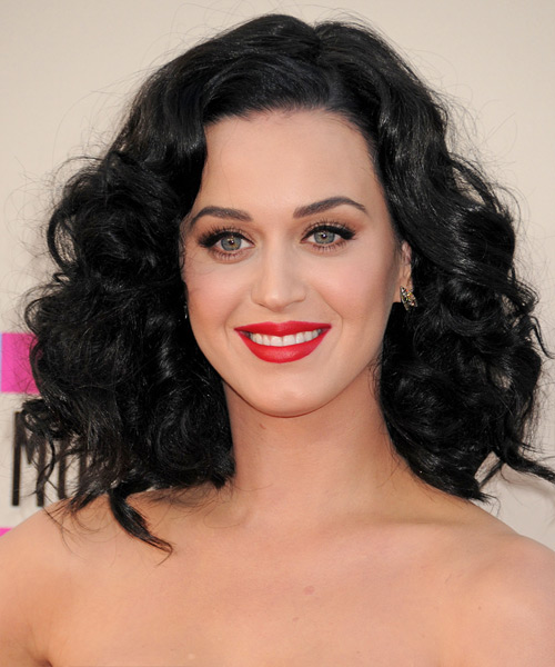 Katy Perry Medium Wavy Hairstyle - Black