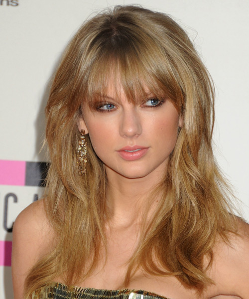 Taylor Swift Long Straight Casual Hairstyle with Layered Bangs - Dark Blonde (Golden) Hair Color