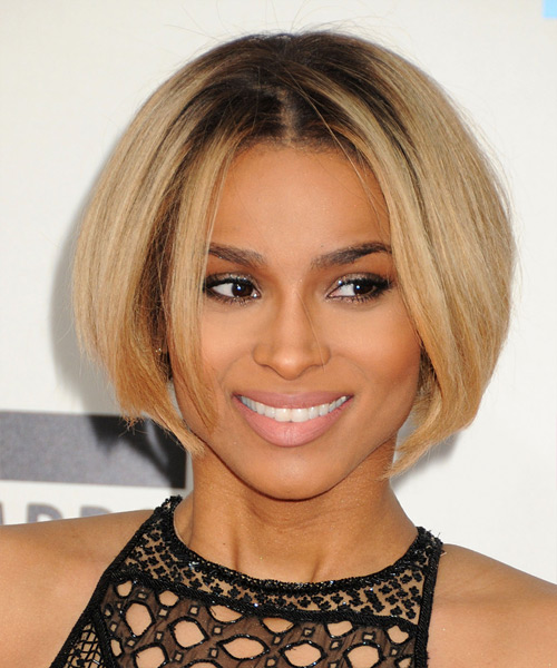 Ciara Short Straight Bob Hairstyle - Dark Blonde