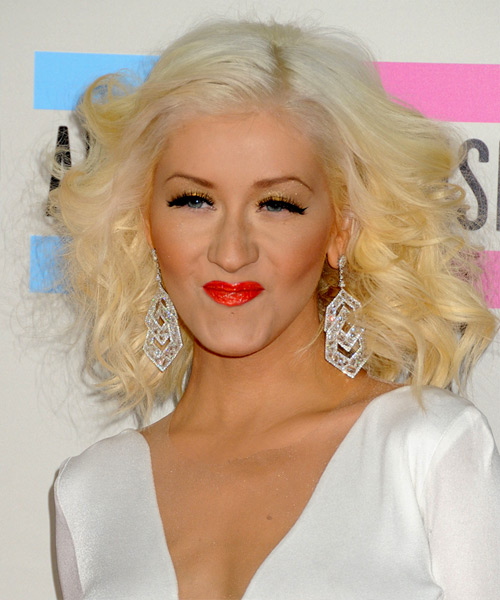 Christina Aguilera Medium Curly Formal Hairstyle - Light Blonde Hair Color