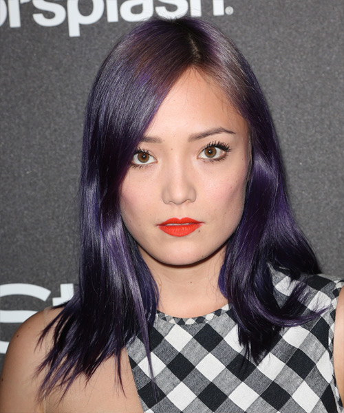 Pom Klementieff Long Straight Hairstyle - Purple