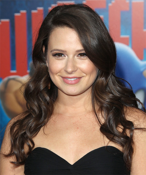 Katie Lowes Long Wavy Casual Hairstyle - Dark Brunette Hair Color