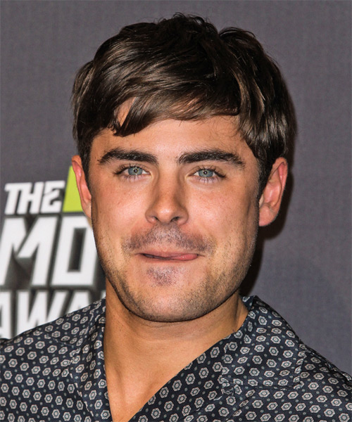 Zac Efron Short Straight Casual Hairstyle - Dark Brunette Hair Color