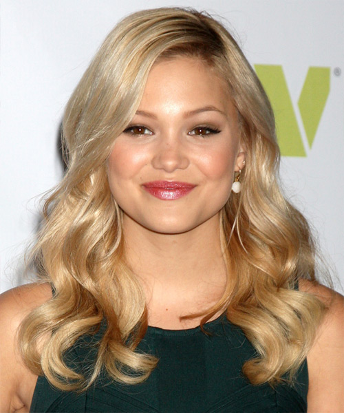 Olivia Holt Long Wavy Formal Hairstyle - Medium Blonde (Golden) Hair Color