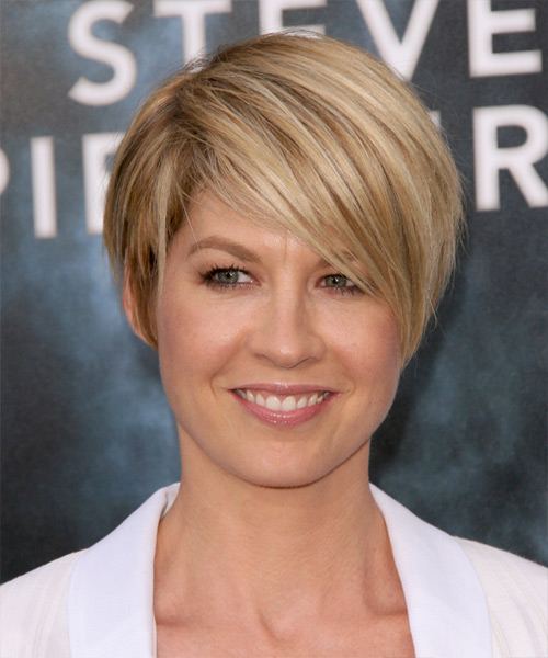 Jenna Elfman Short Straight Hairstyle - Medium Blonde (Golden)
