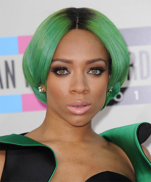 Lil Mama Short Straight Bob Hairstyle - Green