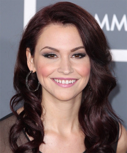 Lisa Osbourne Long Wavy Formal Hairstyle - Dark Red (Burgundy) Hair Color