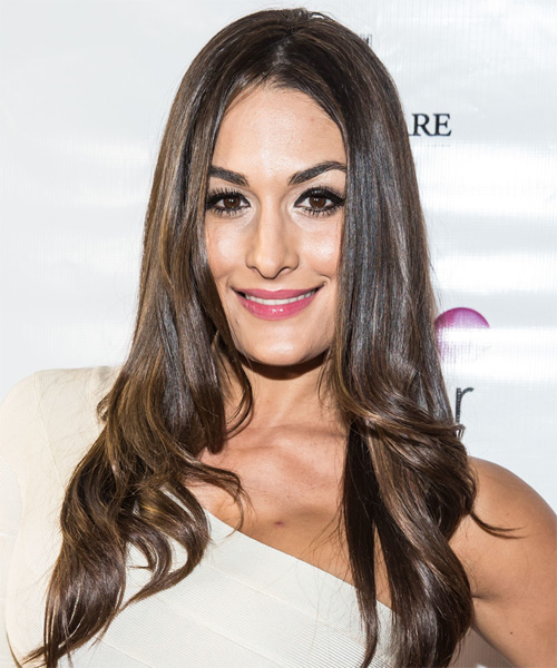 Nicole Garcia Colace Long Straight Formal Hairstyle - Medium Brunette (Ash) Hair Color
