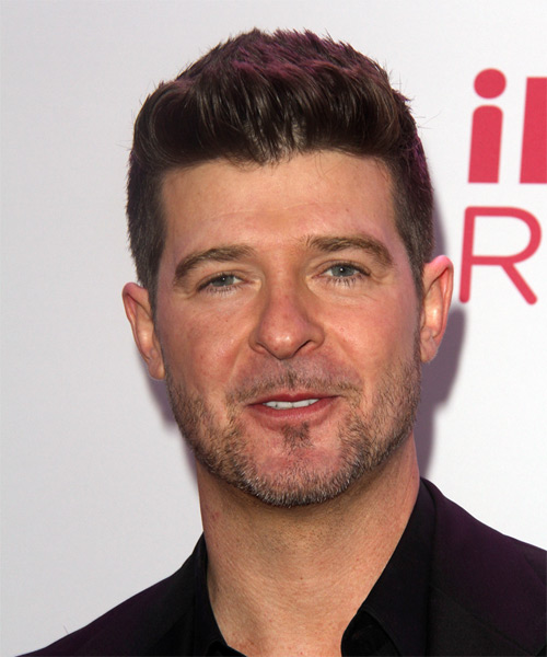 Robin Thicke Short Straight Hairstyle - Dark Brunette (Mocha)