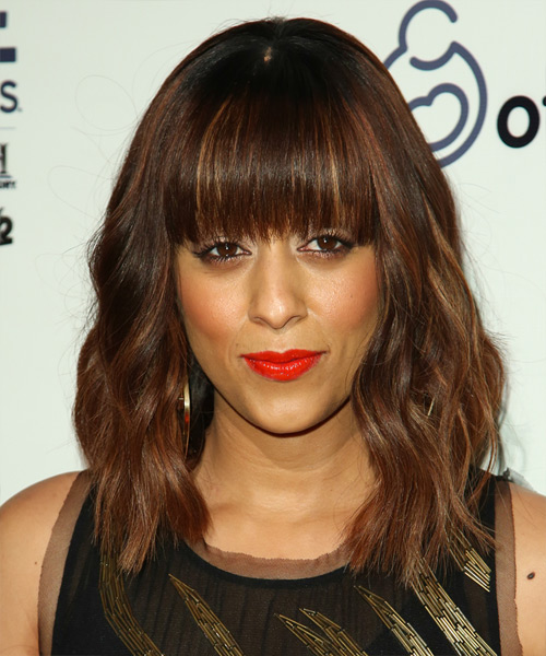 Tia Mowry Medium Wavy Formal Hairstyle with Blunt Cut Bangs - Medium Brunette (Chocolate) Hair Color