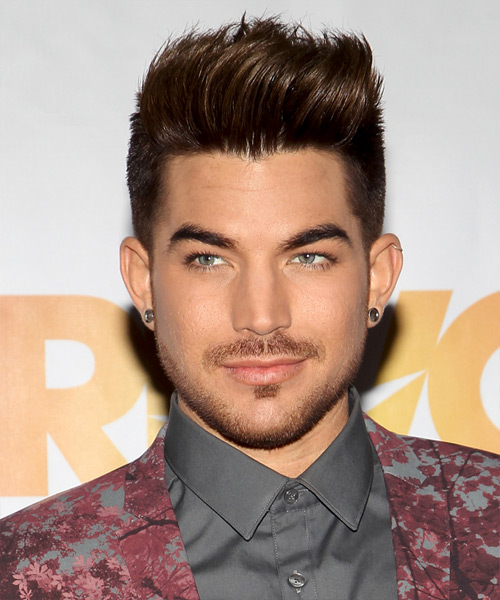 Adam Lambert Short Straight Casual Hairstyle - Medium Brunette Hair Color