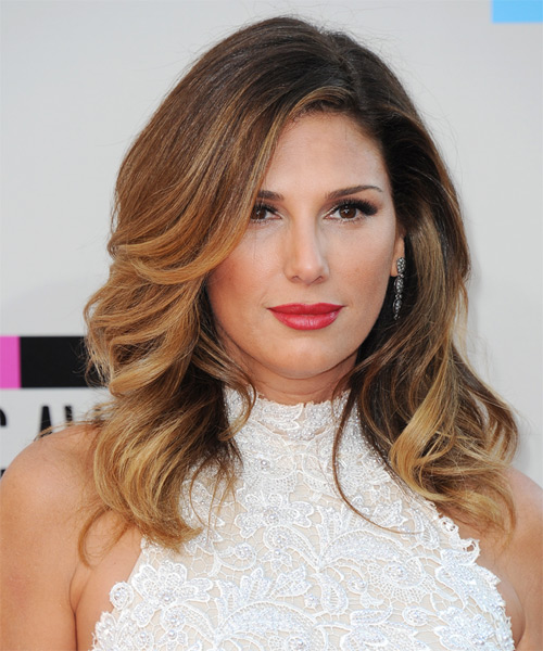 Daisy Fuentes Long Wavy Formal Hairstyle - Medium Brunette (Copper) Hair Color