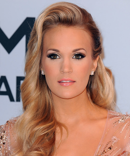 Carrie Underwood Long Wavy Formal Hairstyle - Medium Blonde (Honey) Hair Color