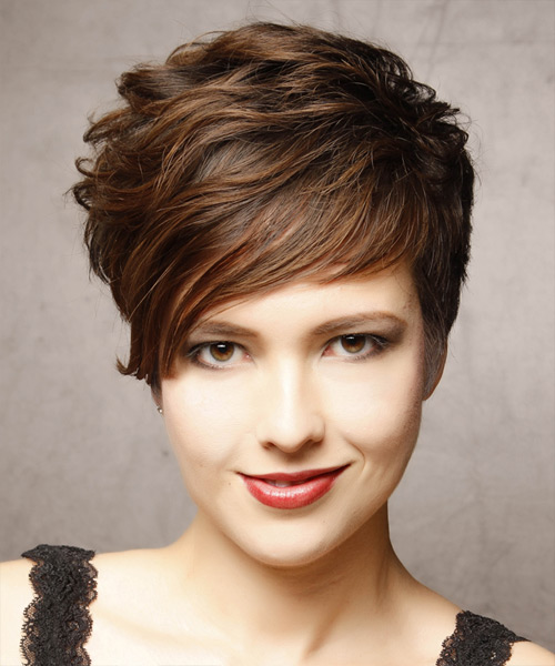 Short Wavy Formal Hairstyle - Dark Brunette Hair Color