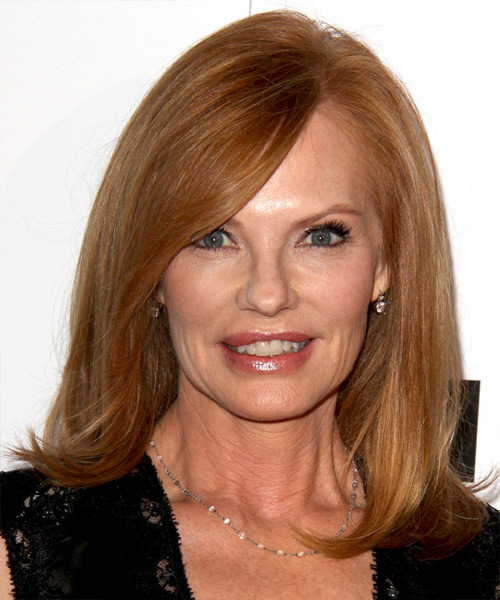 Marg Helgenberger Medium Straight Formal Hairstyle - Medium Red (Ginger) Hair Color