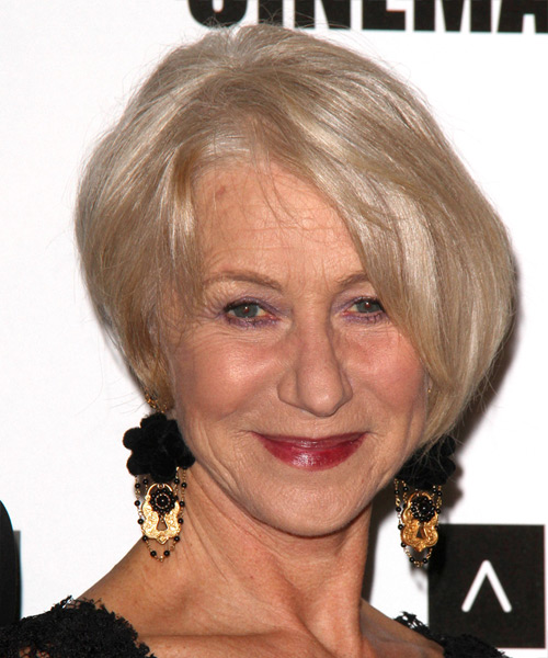 Helen Mirren Short Straight Formal Hairstyle - Light Blonde (Champagne) Hair Color