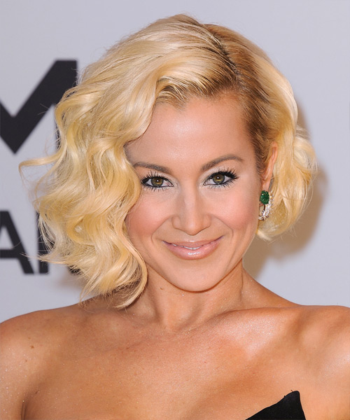 Kellie Pickler Short Wavy Formal Bob Hairstyle - Light Blonde (Golden) Hair Color