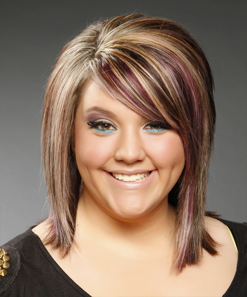 Medium Straight Formal Hairstyle with Side Swept Bangs - Medium Brunette (Caramel) Hair Color