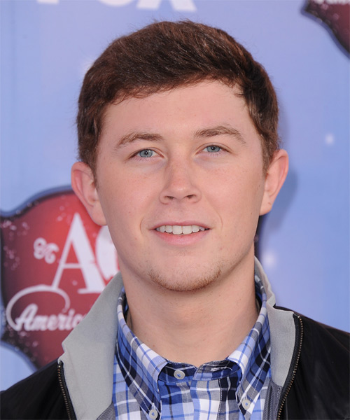 Scotty McCreery Short Straight Hairstyle - Dark Red