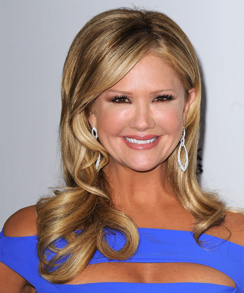 Nancy O Dell Long Wavy Formal Hairstyle - Dark Blonde Hair Color
