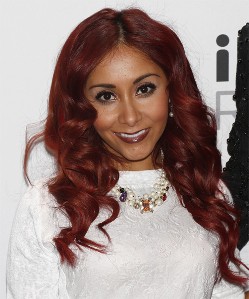 Nicole Snooki Polizzi Long Wavy Hairstyle - Medium Red