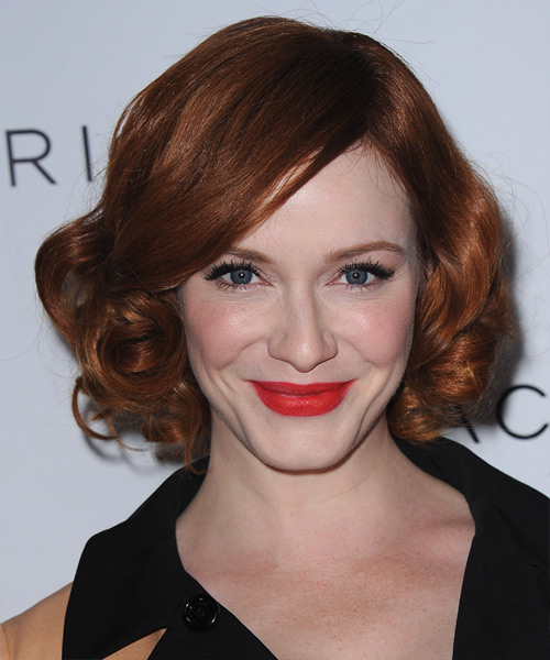 Christina Hendricks Short Curly Hairstyle - Dark Red (Copper)