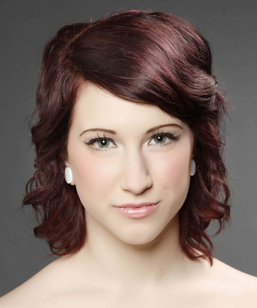 Medium Wavy Casual Hairstyle with Side Swept Bangs - Dark Red (Burgundy) Hair Color