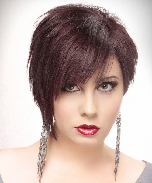 Short Straight Alternative Asymmetrical Hairstyle - Dark Red (Plum) Hair Color