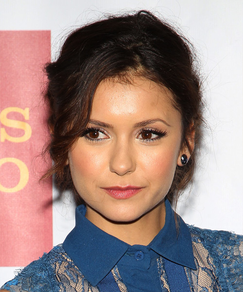 Nina Dobrev Curly Casual Updo Hairstyle - Dark Brunette Hair Color