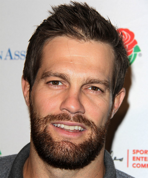 Geoff Stults Short Straight Casual Hairstyle - Dark Brunette (Chestnut) Hair Color