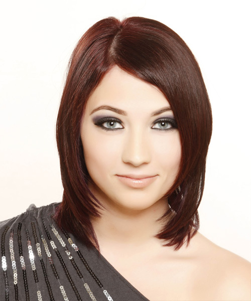 Medium Straight Formal Hairstyle - Dark Red (Burgundy) Hair Color