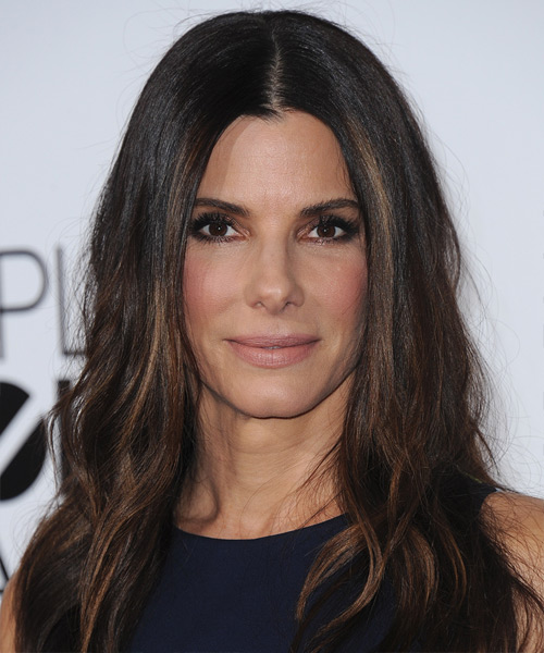 Sandra Bullock Long Straight Casual Hairstyle - Dark Brunette Hair Color