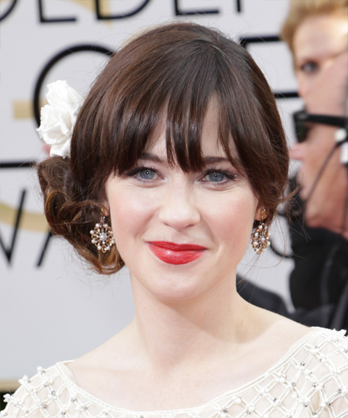 Zooey Deschanel Curly Formal Updo Hairstyle with Blunt Cut Bangs - Dark Brunette (Chocolate) Hair Color