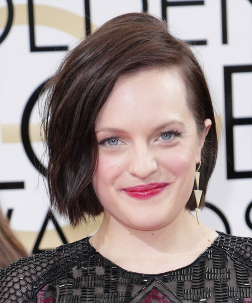 Elisabeth Moss Short Straight Casual Bob Hairstyle - Dark Brunette (Chocolate) Hair Color
