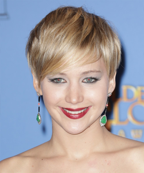Jennifer Lawrence Short Straight Casual Hairstyle - Medium Blonde (Golden) Hair Color