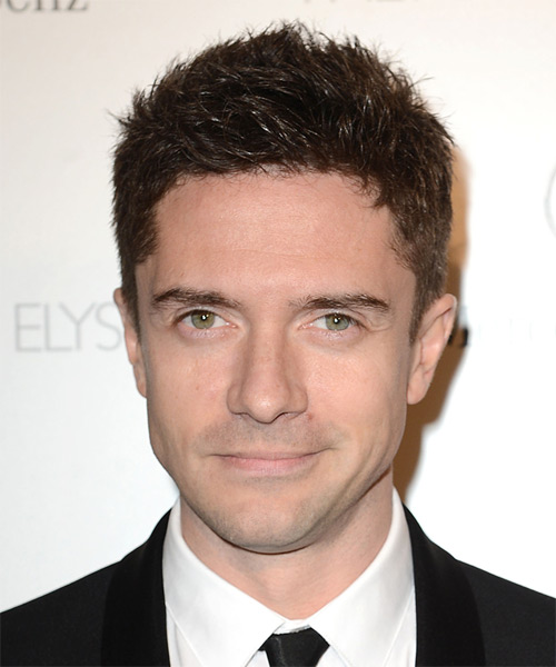 Topher Grace Short Straight Casual Hairstyle - Dark Brunette Hair Color
