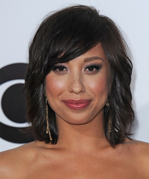 Cheryl Burke Medium Straight Casual Hairstyle with Side Swept Bangs - Dark Brunette Hair Color