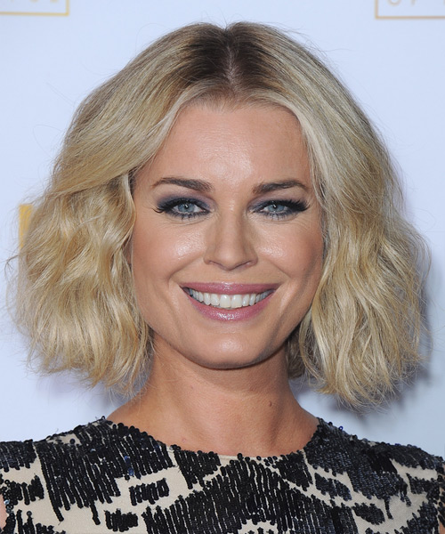 Rebecca Romijn Short Wavy Bob Hairstyle - Light Blonde