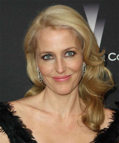 Gillian Anderson Long Wavy Formal Hairstyle - Dark Blonde (Honey) Hair Color