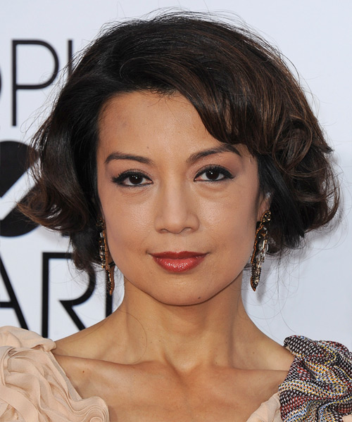 Ming Na Wen Short Wavy Hairstyle - Dark Brunette