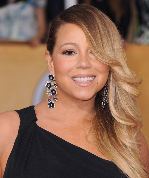 Mariah Carey Long Straight Hairstyle - Medium Blonde