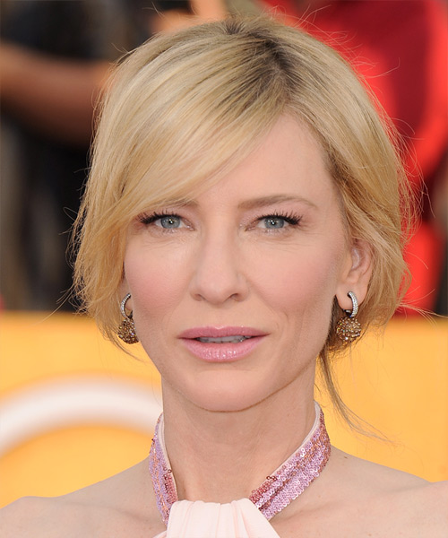 Cate Blanchett Straight Casual Updo Hairstyle - Light Blonde (Golden) Hair Color