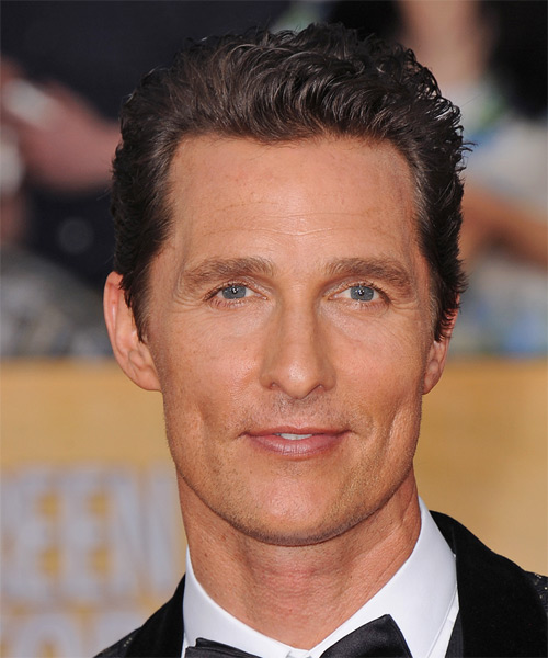 Matthew McConaughey Short Wavy Hairstyle - Dark Brunette (Chocolate)