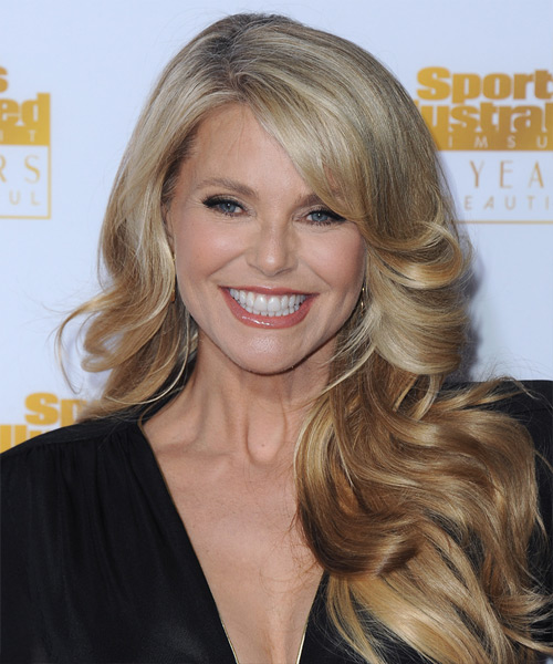 Christie Brinkley Long Wavy Formal Hairstyle - Medium Blonde (Honey) Hair Color