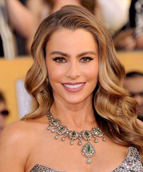 Sofia Vergara Long Wavy Hairstyle - Medium Brunette (Chestnut)