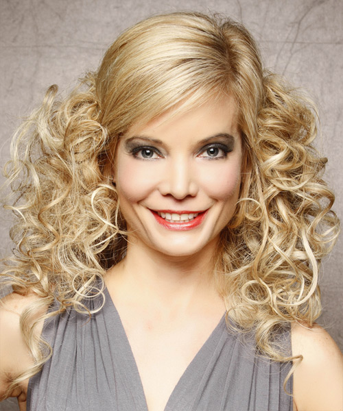 Half Up Long Curly Formal Half Up Hairstyle - Light Blonde (Honey) Hair Color