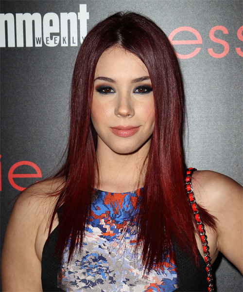 Jillian Rose Reed Long Straight Casual Hairstyle - Medium Red Hair Color