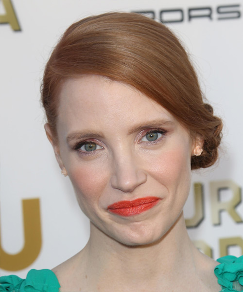 Jessica Chastain  Straight Formal Updo Hairstyle - Light Red (Copper) Hair Color