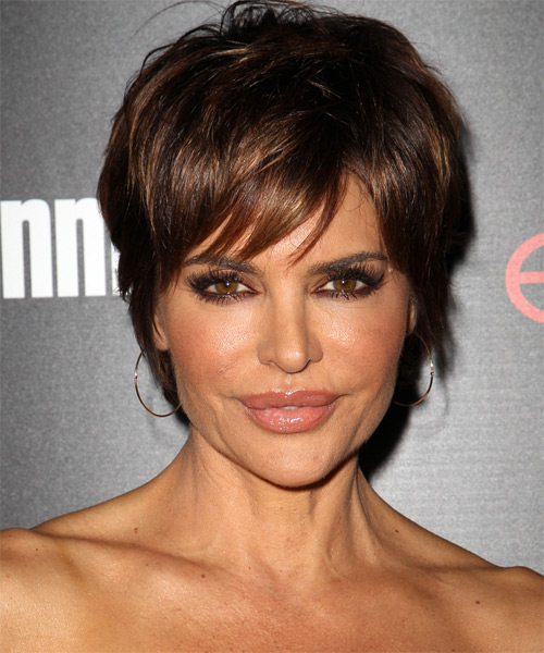 Lisa Rinna Short Straight Casual Hairstyle with Side Swept Bangs - Dark Brunette Hair Color