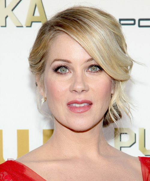 Christina Applegate Formal Straight Updo Hairstyle - Light Blonde